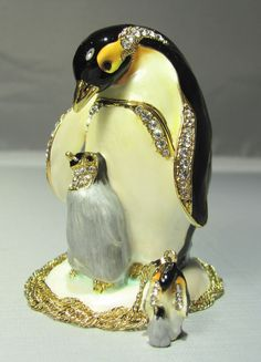 New Trinket Box Gift Crystals Papa Penguin & Child Bird Necklace