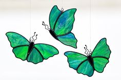 butterfly stained glass, green butterfly suncatcher, stain glass butterfly ornament on Etsy