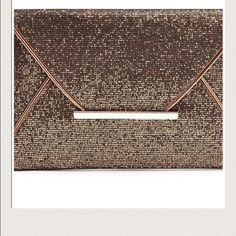 Glam Clutch These clutches will be a game changer to any alfit.   Brand new                                               only one left in bronze. clutch has  interior pocket to store keys or ID etc. Bags Clutches & Wristlets
