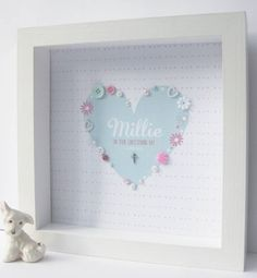 Personalised Christening Silver Cross Heart