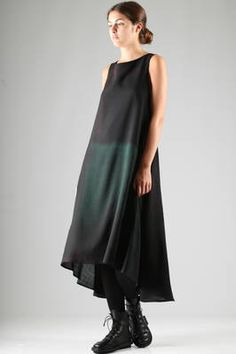 long dress in light pale multicolour wool canvas - Y'S Yohji Yamamoto