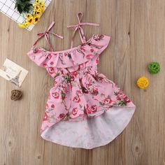 Kids Baby Girls Party Flower Off Shoulder Romper Dress Shorts Clothes US Stock - Girl Party IdeasToddler Girls Off shoulder Floral Sundress Material: Cotton,Polyester Gender: Baby Girls Sleeve Length(cm): Sleeveless Pattern Type: Floral Material Comp Baby Girl Skirts, Dresses Kids Girl, Baby Girl Romper, Little Girl Fashion, Kids Fashion, Fashion Outfits, Latest Fashion, Short Outfits, Kids Outfits