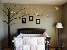RK Brushworks - Cherry Blossom Tree and Birds Nursery Like the crib Cherry Blossom Nursery, Cherry Blossom Tree, Bird Nursery, Nursery Room, Nursery Ideas, Bedroom, Baby Bug, Clay Baby, Nursery Neutral