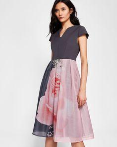 37d8dfb990 Blenheim midi dress - Grey | Dresses | Ted Baker UK Hawaiian Summer Dresses,  Special
