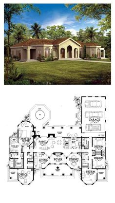 Florida Style COOL House Plan ID: chp-19827 | Total Living Area: 2831 sq. ft., 4 bedrooms & 3 bathrooms. Arches, Arched Windows, Beautiful Design, Impressive Entrance, Family Room, Fireplace, Office with Private Porch, Formal Living Room, Formal Dining Room, Covered Porches, Outdoor Fountain, Kitchen with Island and Snack Bar, Master Suite with Sitting Area, Spa/Sauna #houseplan #floridastyle
