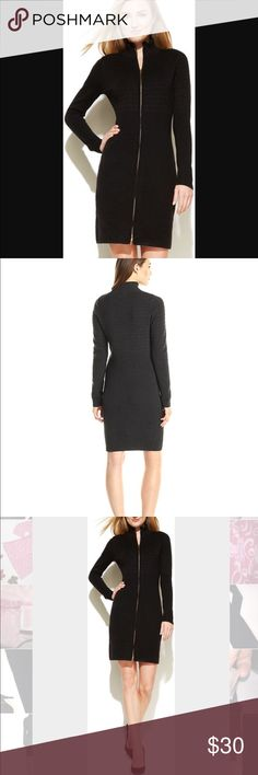 Calvin Klein Banded Sweater Dress Wool blend Banded sweater dress. The perfect sweater to keep you warm and hug your curves. Full gold zip up. Wool blend material. Wear as a form hugging dress or unzip and wear over outfit as a duster. Calvin Klein Dresses