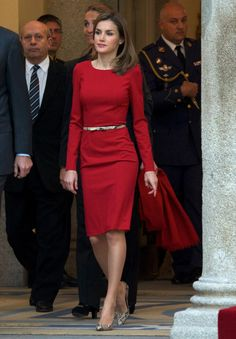 A simple, belted red frock stole the show when Letizia attended the Spanish National Sports Awards in Madrid in 2013.
