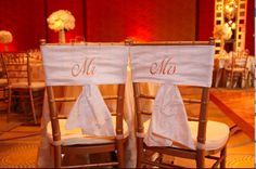 Mr. and Mrs. chair sashes by BellaBrideDesigns on Etsy. - As Seen in the 2011 issue of Southern New England Weddings