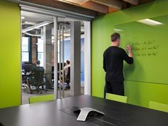 Instead of white boards. Mozilla YVR Office Design by Hughes Condon Marler Architects Cool Office Space, Office Space Design, Workplace Design, Office Workspace, Office Walls, Office Interior Design, Corporate Interiors, Office Interiors, Office Boards