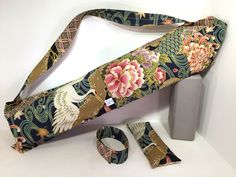 Deluxe Yoga Mat Tote with pocket, mat strap & FREE eye pillow, Cranes, yoga mat bag, yoga accessories, yoga gifts, yoga lovers gifts by TwoBossyBritches on Etsy