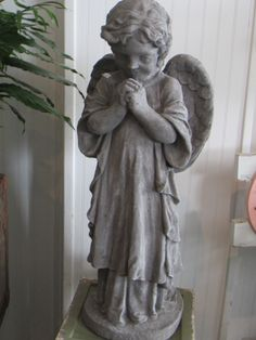 The angel Gabriel garden statue. Awesome Tattoos, Cool Tattoos, Angels Among Us, Catholic School, Guardian Angels, Garden Statues, Gabriel, Favorite Things, Wings