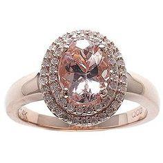 Morganite & .19 CT. TW. Diamond Ring in 14K Rose Gold