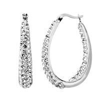 Fred Meyer Jewelers | Clear Bellarosa™ Crystal Inside Out Hoop Earrings