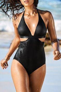 87c250579d Iyasson Black Solid Halter Backless One-piece Swimsuit Backless One Piece  Swimsuit