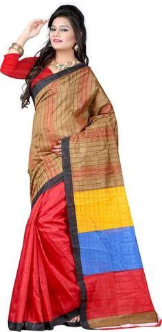 LadyIndia.com #Printed Sarees, Stylish Printed Cotton Red Saree For Women-Sari, Printed Sarees, Casual Saris, Silk Saree, https://ladyindia.com/collections/ethnic-wear/products/stylish-printed-cotton-red-saree-for-women-sari