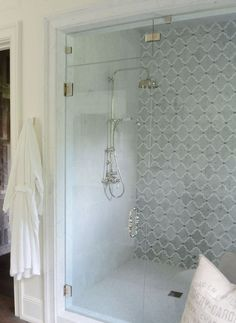 Mosaic Marble Shower Tile is by Arizona Tile. Glass vent at top for steam shower.