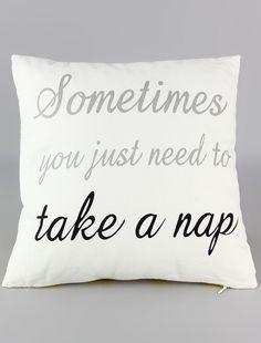 Take a Nap Linen Throw Pillow