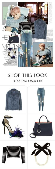 """Something New"" by karydkaulitz ❤ liked on Polyvore featuring Coffee Shop, Topshop, Jimmy Choo, Fendi, Boohoo, Lulu Frost, kpop, bts and jimin"