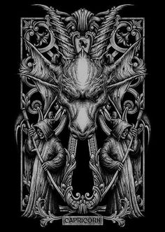 Here're my first series T shirt illustration i did for local brand called Blacklimited from Bangkok Thailand.C&C are welcome Mais Dark Fantasy Art, Dark Art, Art Zodiaque, Capricorn Art, Art Noir, Satanic Art, Psy Art, Arte Obscura, Zodiac Art