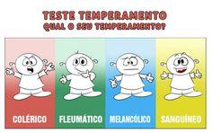 Temperamento: Melancólico (30%) - sanguíneo (28%). Em terceiro colérico (25%) e por último fleumático (18%). (Realizado em 23/12/2015)