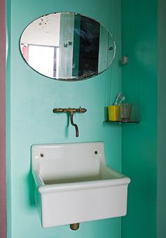 Vintage sink and wall mounted tap