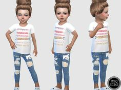 Toddler Jeans 02 - The Sims 4 Catalog Source by Jeans Sims 4 Toddler Clothes, Sims 4 Cc Kids Clothing, Sims 4 Mods Clothes, Toddler Jeans, Toddler Boy Outfits, Toddler Fashion, Kids Outfits, Toddler Rompers, Toddler Girls