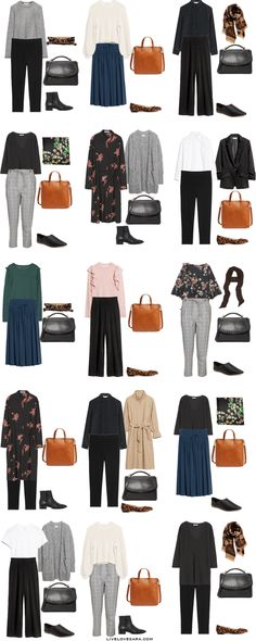 Starter Work Capsule Outfit Options 16-30 via livelovesara
