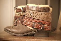 Amazing Upcycled boots. Im going to have to try and make these $130