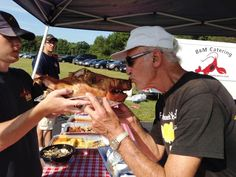 """Host a harvest pig roast that your guests will go """"hog wild"""" for. Memorial Day Foods, Outdoor Catering, Pig Roast, Large Crowd, Catering Companies, Hawaiian Luau, Wedding Menu, Harvest, Roasts"""
