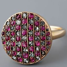 Circa 1900 Catalan Antique Rose Cut Diamond & Ruby Ring in 18k. I love this.