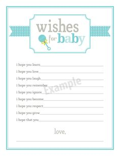 baby shower fill in the blank advice - Google Search