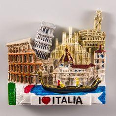 Resin Fridge Magnet: Italy. I Love Italia. Collage