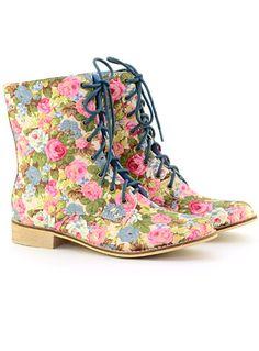 English Garden Combat Boots