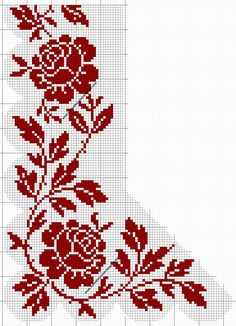 Filet - Crochet Patterns: Roses Everywhere - filet lace 93 Cross Stitch Pillow, Cross Stitch Bookmarks, Cross Stitch Borders, Cross Stitch Rose, Cross Stitch Samplers, Cross Stitch Flowers, Cross Stitch Designs, Cross Stitching, Cross Stitch Embroidery