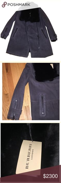 Burberry London Shearling Coat Brand new 100% authentic fur Burberry London coat. 100% lamb shearling. Super cute and comfortable and WARM. The entire inside is covered in fur. The grey and black accent make the coat so chic. SUPER CUTE!!! One of a kind classic coat. Retails over $5000 Burberry Jackets & Coats
