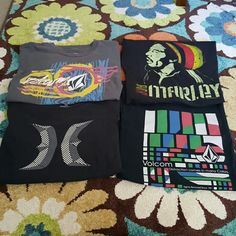 Lot of tees: Volcom Hurley Bob Marley All men's size medium,  fits like women's large. All show signs of wear - 1 Bob Marley Tee - 1 Hurley Tee -2 Volcom Tees  Offers always welcome! Volcom Tops Tees - Short Sleeve