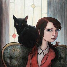 Kelly Vivanco - Art - The Study Art And Illustration, Illustrations, She And Her Cat, Black Cat Art, Black Cats, Photo Chat, Spirited Art, Cat Drawing, Art Design