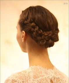 Braided updo (Monique Lhuillier Fall 2014 Bridal Collection)