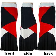 NEW Black White Red Diamond Color block Stretch Knit Maxi Skirt 4X 5X 6X PLUS #YummyPlus #foldoverwaistpullonmaxiskirt