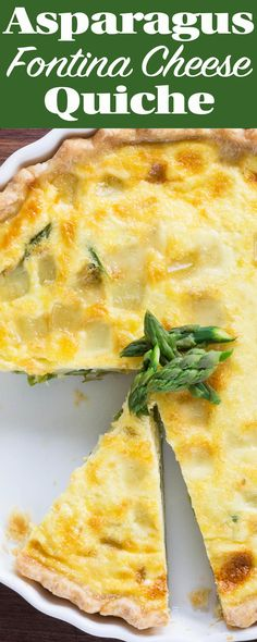 Asparagus quiche with fontina cheese. This is the CREAMIEST quiche EVER! Make for Easter brunch or a spring meal. Vegetarian.
