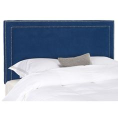 @Overstock.com - Safavieh Cory Blue Headboard (Queen) - Add a splash of color to your room decor with this modern blue headboard from Safavieh. This elegant Cory headboard is padded with thick polyester fill for added comfort, and it has contemporary nail-head accents for added style and beauty.   http://www.overstock.com/Home-Garden/Safavieh-Cory-Blue-Headboard-Queen/7402065/product.html?CID=214117 $181.99