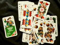 Gorgeous vintage artwwork on a deck of cards. Set of 36 Tarock Schafkopf Cards made in Germany by YardSaleDream, $8.00