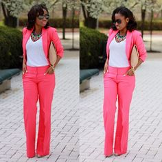 Love pant suits but I need that necklace!