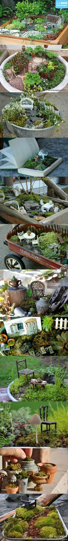 A lot of really fun ideas for miniature gardens you can make.