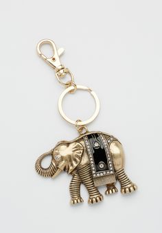 goldtone elephant handbag charm with rhinestones