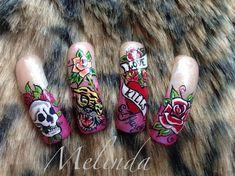 Ed Hardy nail art by Melinda - Nail Art Gallery nailartgallery.nailsmag.com by Nails Magazine www.nailsmag.com #nailart