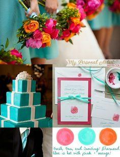 pinterest bridal design in orange and tiffany blue | Pink and Orange Wedding Colors