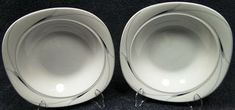 "Mikasa Caviar Soup Bowls 8 1/2"" L5806 Square Black Gray Salad Set of 2 | DR Vintage Dinnerware Replacements Vintage Dinnerware, Soup Bowls, Black And Grey, Gray, Salad Plates, Mikasa, Caviar, Tableware, Modern"