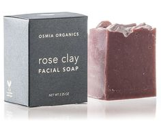 Rose Clay Facial Soap  Australian pink clay and white kaolin clay hydrate and heal the skin, and essential oils of geranium and palma rosa give a rose-like scent.  Coconut milk makes a creamy, gentle lather, while wild-harvested mango butter and cold-pressed, organic avocado oil nurture sensitive and dry skin types.