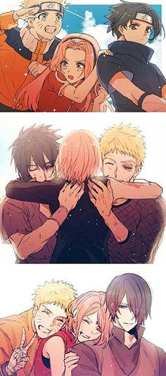 Naruto, Sakura e Sasuke. Otaku Anime, Anime Naruto, Fan Art Naruto, Naruto Team 7, Naruto Comic, Naruto Cute, Manga Anime, Manga Art, Konoha Naruto